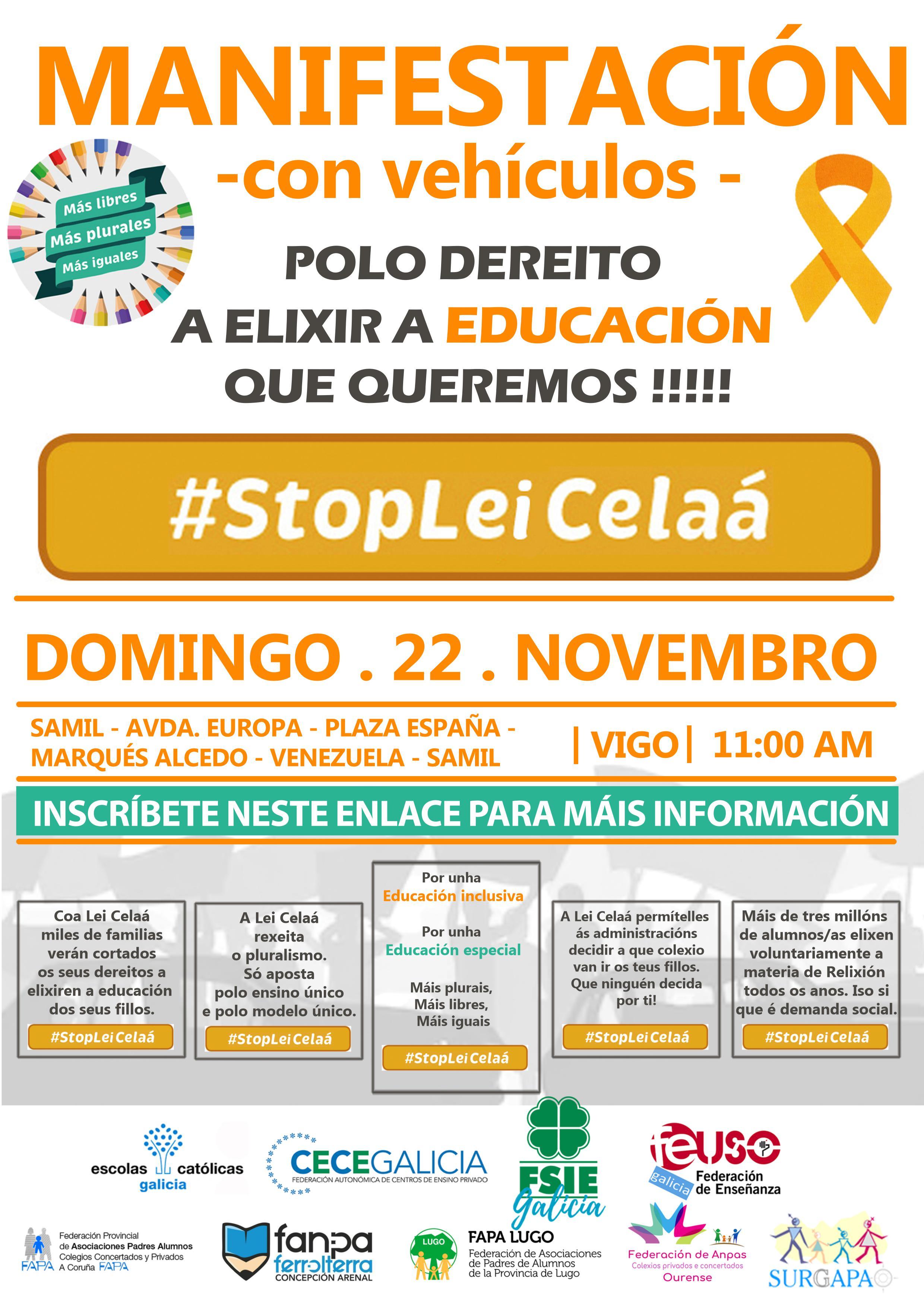 Este domingo 22, manifestación en coches contra a Lei Celaá